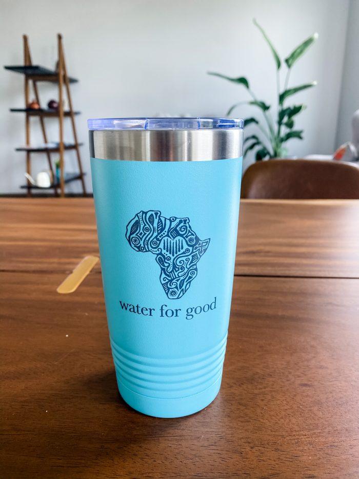 Small Water for Good aqua blue tumbler